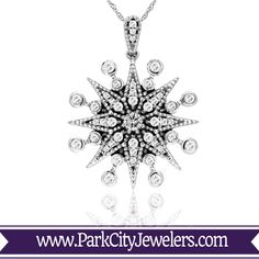 White Gold with Diamond Starburst Snowflake Necklace SKU: Metal Type: White Gold Stone Type: Diamond Stone Weight: Dimensions: Chain Included Snowflake Jewelry, Christmas Snowflakes, How To Make Notes, Diamond Stone, Gift Packaging, Fashion Necklace, Vintage Inspired, White Gold, Jewels