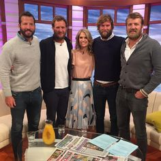 "At 5'8"" it's not often I feel short.... but our four 6'4"" record-breaking oarsmen have done it this morning!! @gmb #gmb #goodmorningbritain #feelingshort #oarsmen #beards #beardsofinstagram"