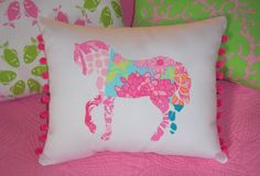 New custom Horse Pillow made with Lilly Pulitzer Palm Beach Patch