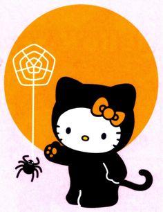Hello Kitty #black cat #spider #spider web #full moon