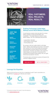 Case study email blast communicates capabilities from design to commercialization. Small Company, Case Study, Innovation, Product Launch, Facts, Content, Technology, Marketing, Design