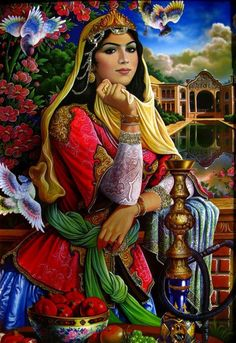 color spectacular- from Persian Art Persian Culture, Iranian Art, Iranian Beauty, Woman Painting, Islamic Art, Belle Photo, Female Art, Art Pictures, Fantasy Art