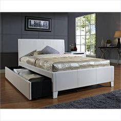 $468 - Fantasia Bed with Trundle in White - 607XX-WHITE-Trundle - Lowest price online on all Fantasia Bed with Trundle in White - 607XX-WHITE-Trundle