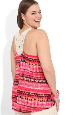 c9421d103eb Plus Size High Low Tank with Tribal Print and Crochet Back