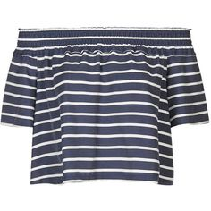 TopShop Stripe Smock Bardot Blouse ($52) ❤ liked on Polyvore featuring tops, blouses, shirts, crop tops, navy blue, off the shoulder crop top, off shoulder crop top, ruffle blouse, ruffle shirt and navy blue striped shirt