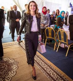 ♔♛Queen Rania of Jordan♔♛...On February 21, 2017, Queen Rania of Jordan visited the Al Bayader Vocational Secondary School for Girls