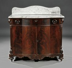 An American Rococo Carved Mahogany Washstand, c. Victorian Bedroom Furniture, Dream Furniture, Furniture Styles, Antique Furniture, Vanity Backsplash, Wash Stand, Antique Vanity, Art Deco Period, Marble Top