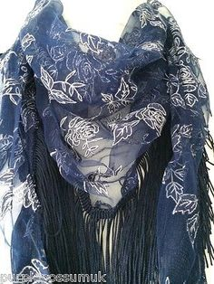 Navy blue vintage lace style triangle scarf great quality with lovely floral detail and a long tassel trim Measurements approx 65 inch 162 cm in Blue Lacy, Navy Blue, Purple, Cat Scarf, Prom Accessories, Triangle Scarf, Vintage Lace, Floral Flowers, Tassel
