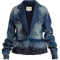 Johanna Ortiz Feather-embellished denim jacket ($995) ❤ liked on Polyvore featuring outerwear, jackets, asymmetrical denim jacket, blue jackets, blue denim jacket, feather jacket and embellished jackets