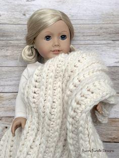 "CROCHET PATTERN – 18 inch Doll Fisherman's Throw Blanket 18"" x 21"" PDF 12 (Fits American Girl Dolls)"
