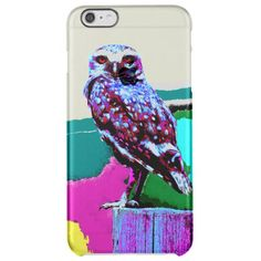 Colorful Owl on a post Posterization Clear iPhone 6 Plus Case