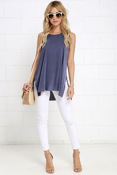 Give it All You've Got Washed Blue Tank Topat Lulus.com!