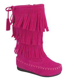 Look at this #zulilyfind! Fucshia Fringe Boot #zulilyfinds