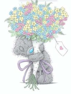 ‿✿⁀Tatty Teddy‿✿⁀Add tiny pastel Flowers or Bright colored ones Mothers Day Card Tatty Teddy, Clipart, Teddy Bear Pictures, Bear Pics, Birthday Wishes, Happy Birthday, Fizzy Moon, Bear Graphic, Blue Nose Friends