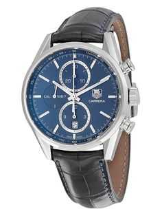 Men's Carrera Chronograph Automatic Leather Watch by Tag Heuer