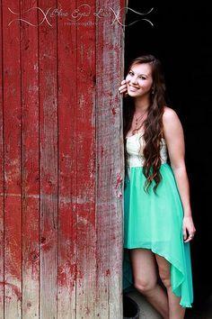 Senior girl, great red barn!