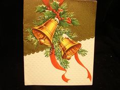 "Vintage ""Golden Bells of Christmas "" Christmas Greeting Card 