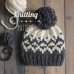 Please note: This item is for a digital pattern only, not the actual item This super bulky weight 'North Wind Beanie' uses two colors of yarn to create a fun fair isle design with an extra cozy feel. The stranded colorwork adds an extra layer of warmth and makes this hat a great accessory to wear Cast On Knitting, Fair Isle Knitting, Free Knitting, Loom Knitting Patterns, Free Knitted Hat Patterns, Knitting Ideas, Knitting Projects, Marker, Chevron