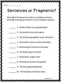 4th grade sentence fragments worksheets google search sixth grade language arts sentence. Black Bedroom Furniture Sets. Home Design Ideas
