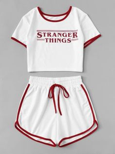 Contrast Trim Letter Print Tee With Shorts Activewear White Women Top And Shorts 2019 Summer Casual Two Pieces Set Teen Fashion Outfits, Teenage Outfits, Outfits For Teens, Girl Outfits, 70s Fashion, Fashion 2020, London Fashion, Korean Fashion, Womens Fashion