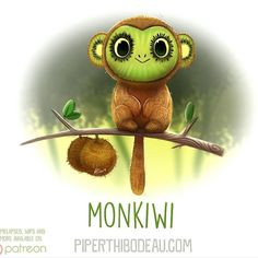 Daily Paint 1620. Monkiwi by Piper Thibodeau