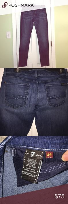 7 For All Mankind jeans! Excellent condition!  7 For All Mankind 'roxanne' style jean. Darker denim. Skinny. 7 For All Mankind Jeans Skinny