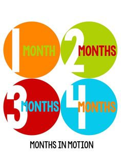 Months in Motion 290 Baby Month Stickers for Newborn Boy Red Blue Orange ** Final call for this special discount  : Nursery Decor