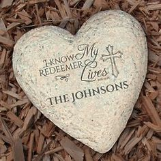 Personalized My Redeemer Lives Heart Garden Stone My Redeemer Lives, Religious Gifts, Garden Stones, Bloom, Heart, Life, Stones For Garden