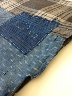 Antique Japanese Handwoven Indigo Boro Patched Scarf Textile