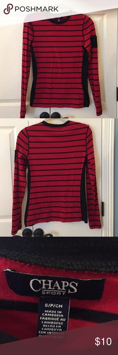 Chaps Long Sleeved Crew Neck Top EUC Super cute long sleeved top. Red and black striped. Has solid black stipe on sides and small black pocket on upper left sleeve. Only worn once. No flaws. Looks great with plaid polar fleece vest in my closet. Chaps Tops Tees - Long Sleeve