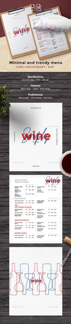 Elegant Wine Menu Food menu, Menu templates and Food menu template - bar menu template