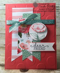 Just Sponge It: Create with Connie and Mary Time! CCM#387 Birthday Blooms stamp set, Birthday Bouquet Designer Series Paper, Large Polka Dots Embossing Folder, Banners Framelits, Pool Party Glitter Ribbon, Occasions 2016 Catalog, DIY, Stampin' Up!
