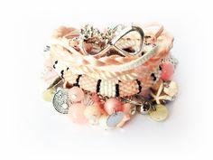 Set of 6 bracelets, Set of peach bracelets, Beaded Bracelets, Bracelet friendship. Gift for her, October Birthstones, Opal Birthday Gift, by MadeByJoLis on Etsy