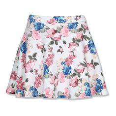 White Floral Skater Skirt ❤ liked on Polyvore featuring skirts, bottoms, faldas, floral, flared skirt, white skirt, white circle skirt, floral knee length skirt and flower print skirt