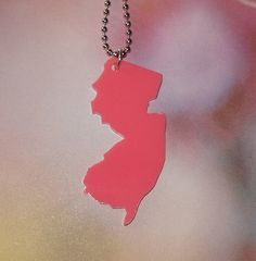 State Pride Jewelry - Pink New Jersey State Necklace Big Size - New Jersey Necklace