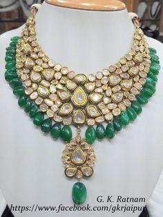 Green meenakari diamond polki necklace with beryl drops   Vilandi Jewelry   Diam...