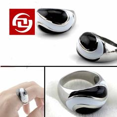 Popular Men's jewelry Gossip Fashion black men ring stainless steel rings punk Rocks' square titanium steel stainless women's