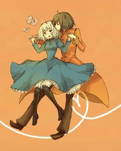 Howl and Sophie from Howl's Moving Castle. One of the best anime movies and novels ever! I love how cute they are together!