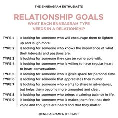 Tomorrow we start a new series on relationships and we wanted to kick it all off with something each enneagram type looks for in a… Enneagram Type One, Enneagram Types, Myers Briggs Personality Types, Mbti Personality, Personalidad Enfp, Infj Type, Personality Psychology, Relationship Goals, Relationships