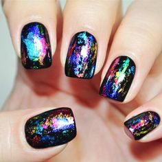 Prism Nail Foil on black nails Easy to do nail art