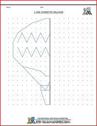 printable geometry worksheets 1 line symmetry balloon Symmetry Worksheets, Symmetry Activities, Fine Motor Activities For Kids, Math For Kids, Art Activities, Therapy Activities, Math Strategies, Math Resources, Printable Math Worksheets