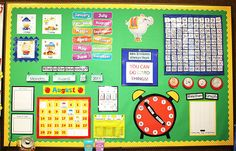 Love this 'calendar time' bulletin board. So many different types of learning. Life Skills Classroom, Classroom Setup, Classroom Displays, Kindergarten Classroom, Classroom Organization, Maths Display, Classroom Rugs, Kindergarten Calendar, Preschool Literacy