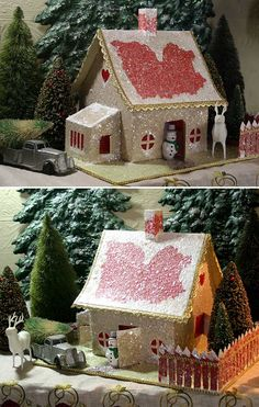 32 Degrees North ~ Make Your Own Putz House Kit! When I was a child...a long long time ago...we had a lot of these under the tree as a tiny Christmas village,  Really takes me back...