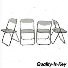 Chrome & Lucite Folding Chairs Dining Side Sleek Metal Modern Design Set of 4 | eBay
