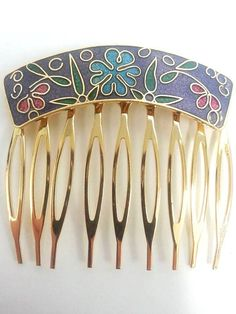 Cloisonne Floral Hair Comb by UnitePearlandGemCor on Etsy