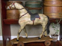 Antique early pull toy wood horse nice primitive folk art toy for under the tree | eBay