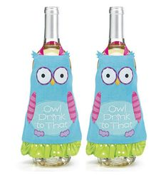 "2 Fabric Bottle Wrap ""Owl Drink to That"" Wine APRONS Glass Cover Character Birds"