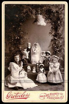 Remarkable 1890s Cabinet Card Photo ~ Little Girl Attending Doll Wedding.  Saved from Ebay