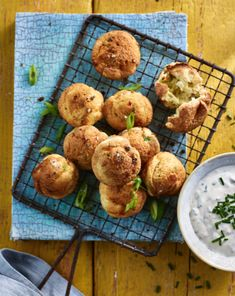 Prue Leith's Double Cheese & Spring Onion Bites with Sour Cream Dip Prue Leith, Sour Cream Dip, Great Recipes, Favorite Recipes, Cheese Bites, Appetisers, International Recipes, Finger Foods, Onion