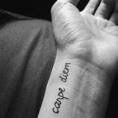Cursive Small Carpe Diem Wrist Guys Tattoos